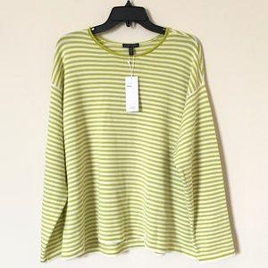 EILEEN FISHER Striped Pullover Merino Wool Sweater
